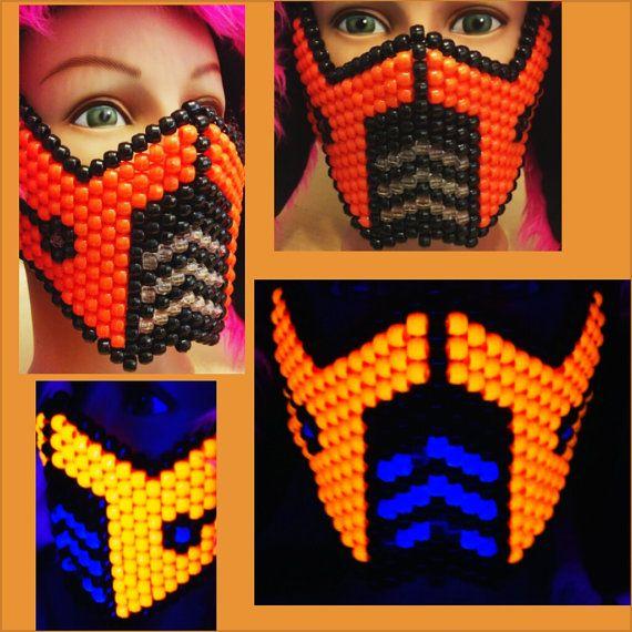 NEON ORANGE  Sub Zero Mortal Kombat Kandi Mask