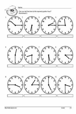 Tell time to the half hour worksheets: Worksheet # 5   1 ...