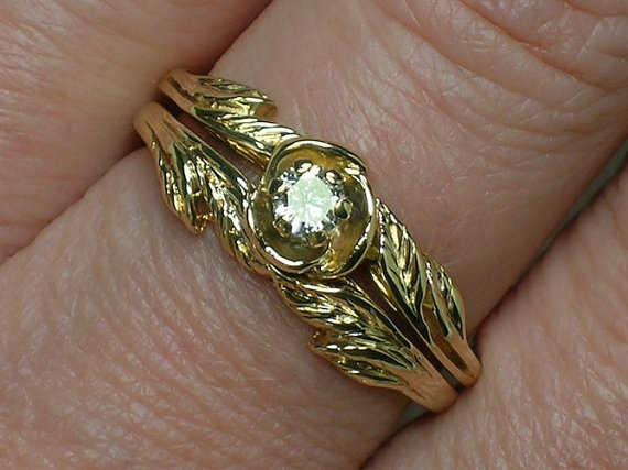 Vintage 14k Gold Wedding Ring Set Northwest Style Leaves Retro 70s 80s Diamond Solitaire
