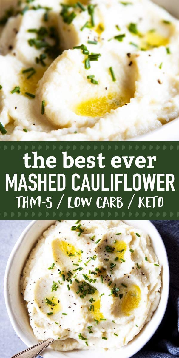 The Best Mashed Cauliflower, EVER! This recipe is so delicious, ULTRA creamy and just about perfect. Includes step-by-step recipe video. The ultimate low carb side dish for THM S-Meals, for keto diets or just when you need creamy comfort food but are out of potatoes 😉  