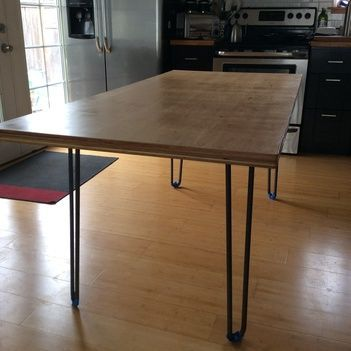 DIY Table Made From Plywood And Hairpin Legs Rustic Modern Via Ryobi Nation