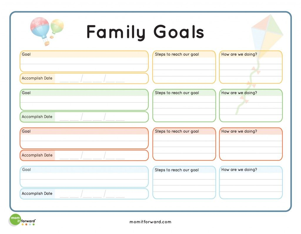 Family Goal Setting Printable