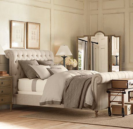 Chesterfield Fabric Sleigh Bed With Footboard Bedroom Decor