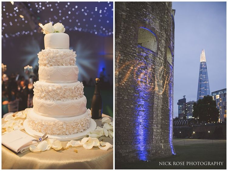 Six tier white wedding cake for an asian wedding at the Tower of London | Nick Rose Photography | #hinduwedding #6tiercake #hinduwedding | www.nickrosephotography.com