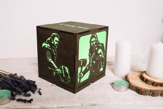 Wood night light Thor superhero gifts/Marvel comics thor gifts/Marvel gifts for men/Marvel gifts for women/Marvel gifts for boys nursery #superherogifts