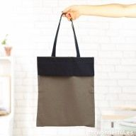 Bolso de tela gris con bolsillo azul marino #bag #fashion #pocket #design #home #mrwonderful