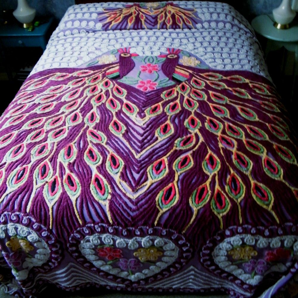 Vintage Chenille Bedspread Peacock QueenKing Size by GloryBDesign