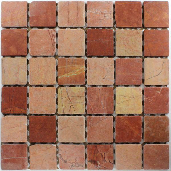 marmor mosaik fliesen 48x48x8mm rosso rot indoor stuff. Black Bedroom Furniture Sets. Home Design Ideas