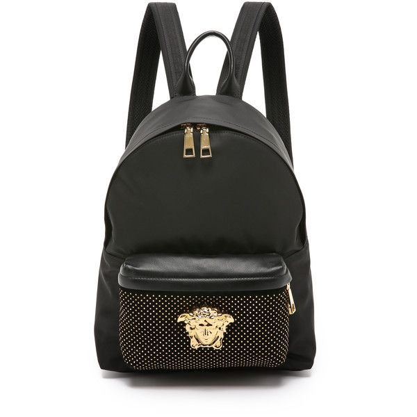 6a0c9e64f336d6 Versace Nylon Backpack (5.550 RON) ❤ liked on Polyvore featuring bags,  backpacks, nylon bag, knapsack bags, backpacks bags, rucksack bag and logo  bags