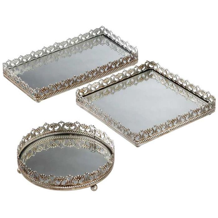 Set of three mirrored vanity trays with filigree rims. Product: Circular,  rectangular and square tray Construction Material: Metal and mirrored glass  Color: ... - Inspiration: Mirror Bottom Trays DIM: Do It Myself Pinterest