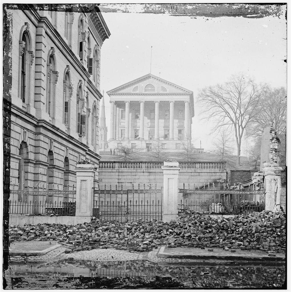 Custom House (left) and Capitol (center); Rubble in Street - Richmond, VA, April, 1865