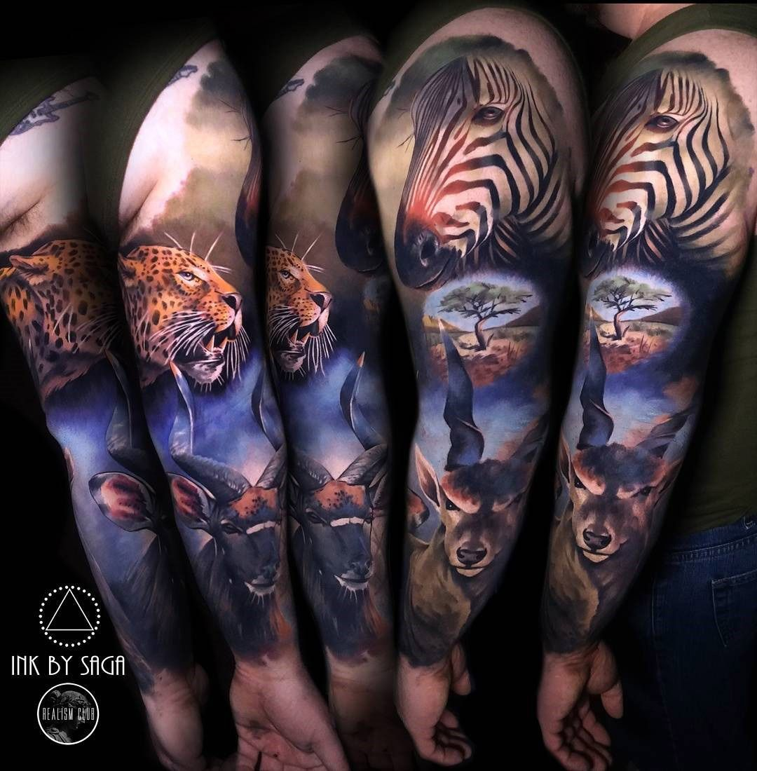 Africa Sleeve With Zebra Leopard Antelope Best Tattoo Design Ideas Animal Sleeve Tattoo Best Sleeve Tattoos Zebra Tattoos