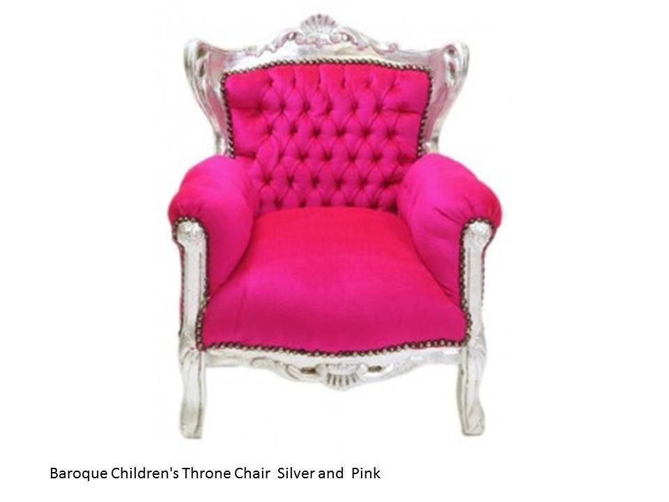 Exceptionnel Baroque Kids Throne Chair Silver And Pink