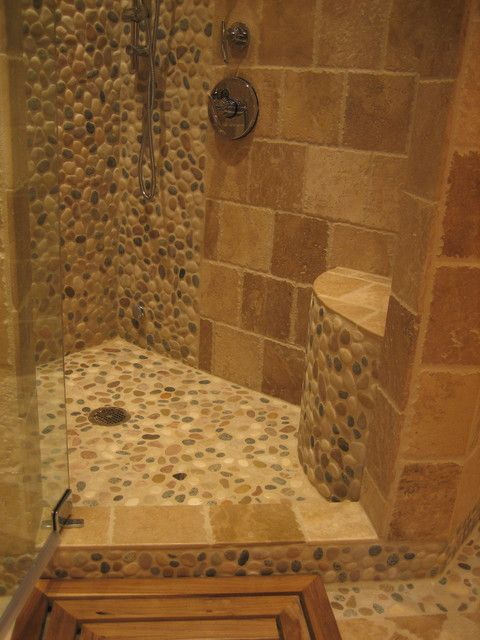 natural shower using polished cobblestone pebble tile httpswwwpebbletileshop - Bathroom Shower Tile Designs Photos