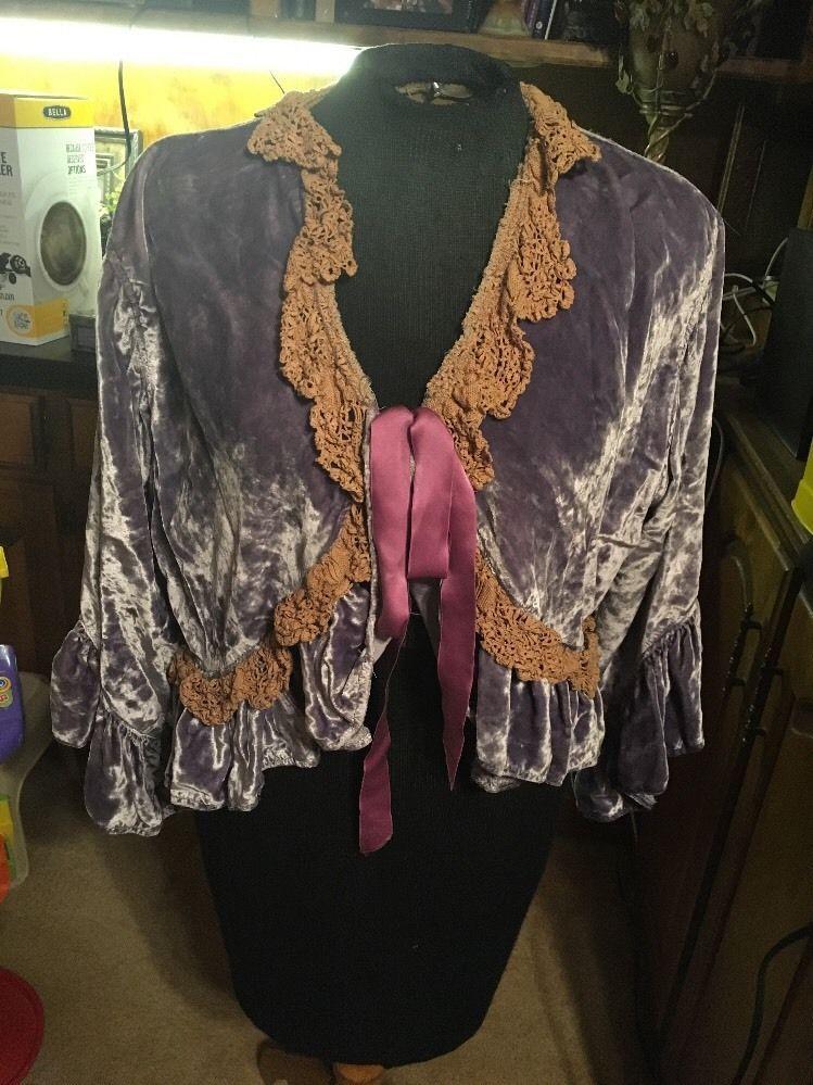 d1ee93b2 Genuine Magnolia Pearl Short Velvet W Vintage Lace Trim Bolero Style Jacket  O/S #MagnoliaPearl #Bolero