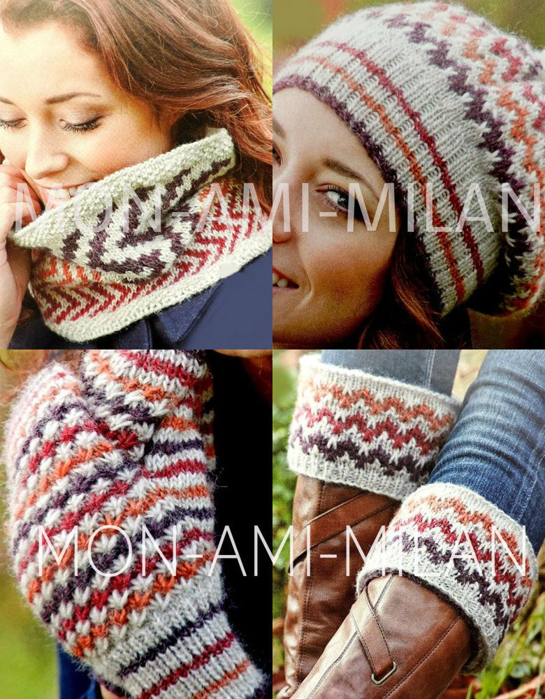 Knitting Pattern FAIR ISLE COWL Boot Toppers BOBBLE HAT Mittens ...