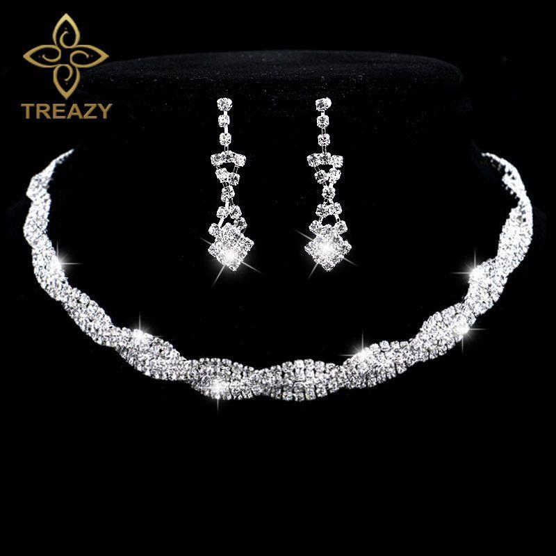 Fashion Wedding Jewelry Sparkling Rhinestone Crystal Choker Necklace Earrings Set Charm Silver Plated Bridal Sets