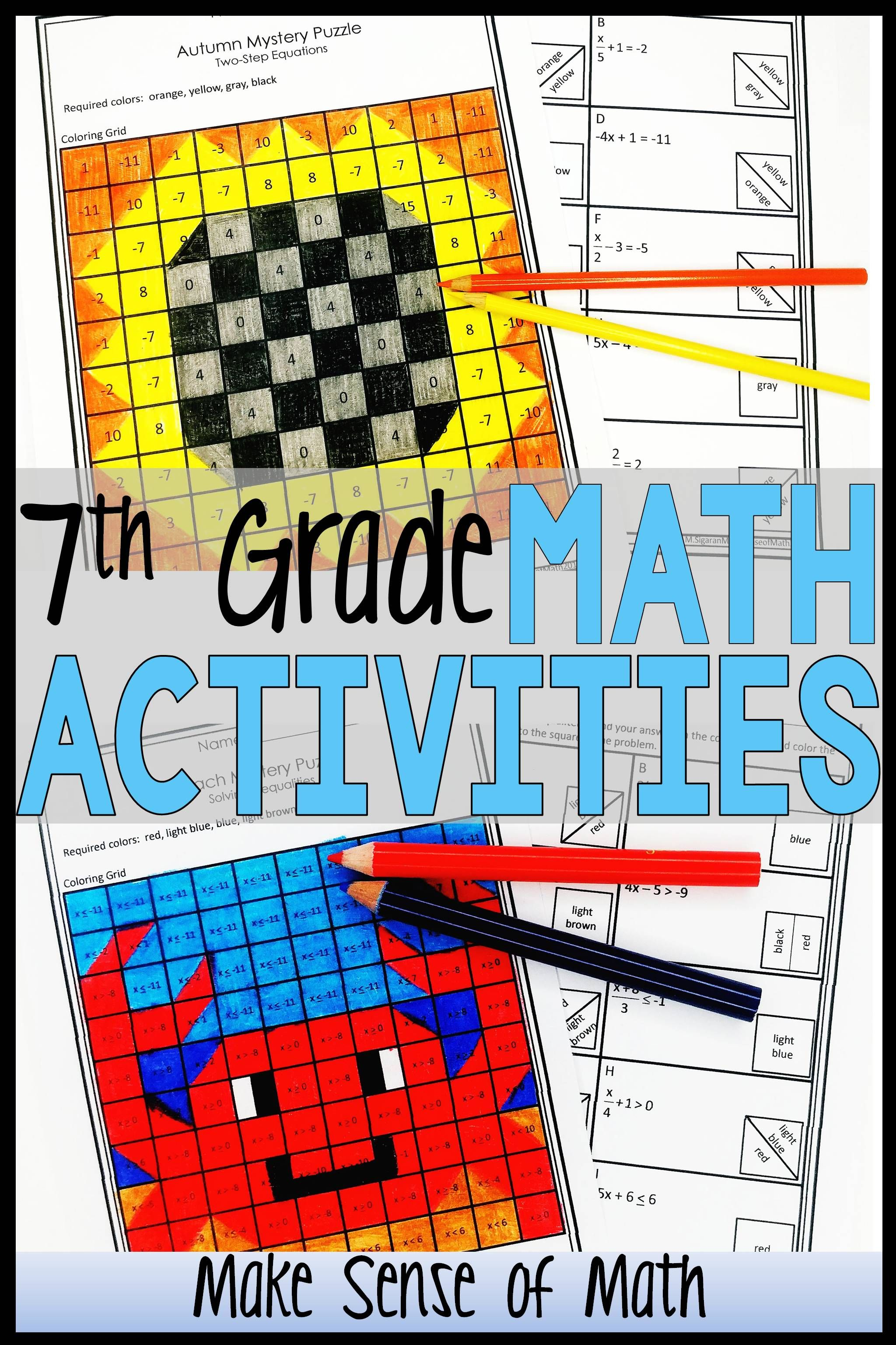 7th Grade Math Activities Mystery Puzzles Bundle
