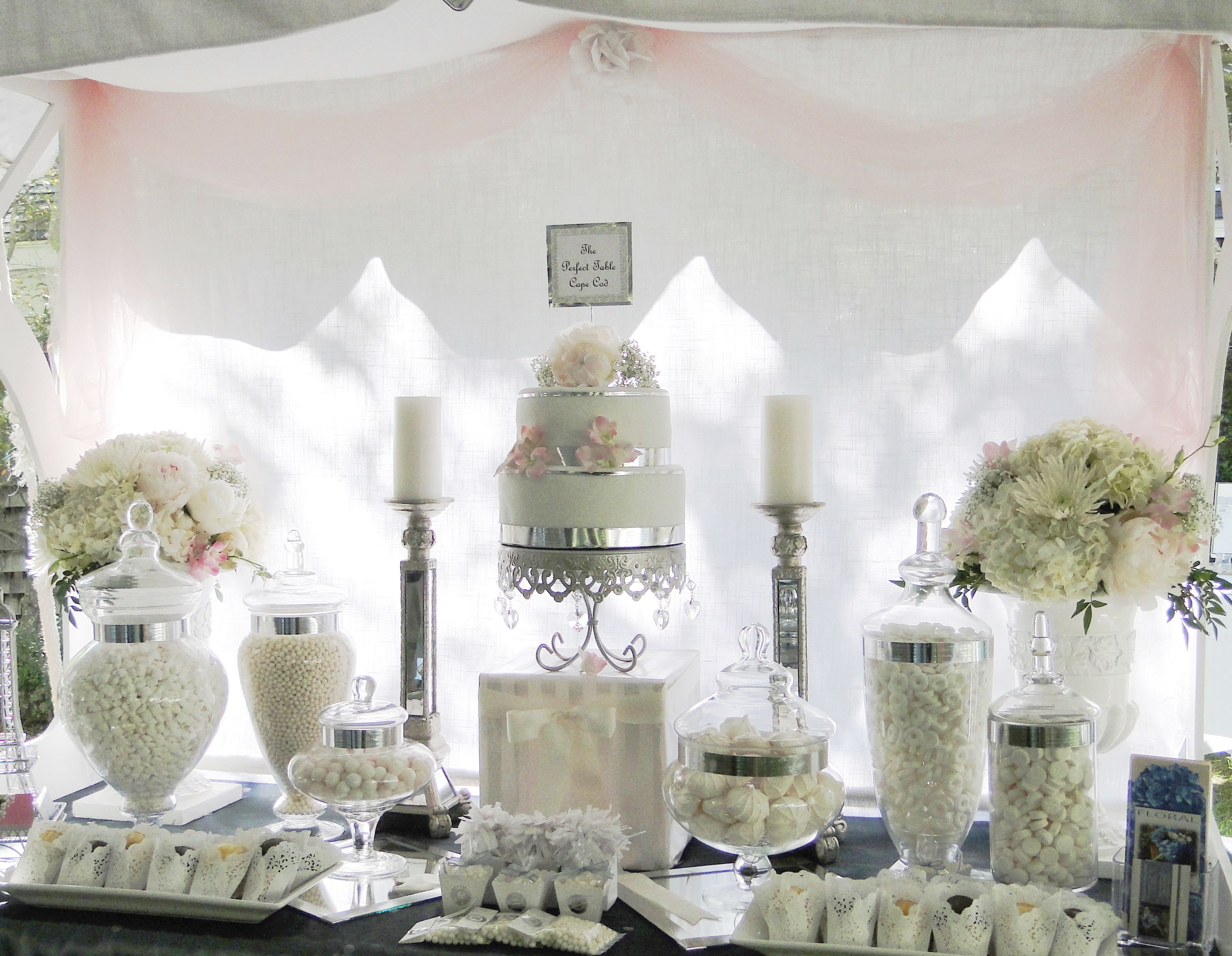 Www Theperfecttablecapecod Com Summer Wedding White Blush Candy Buffet Table Candy Buffet Wedding Sweet Table Wedding Candy Bar Wedding