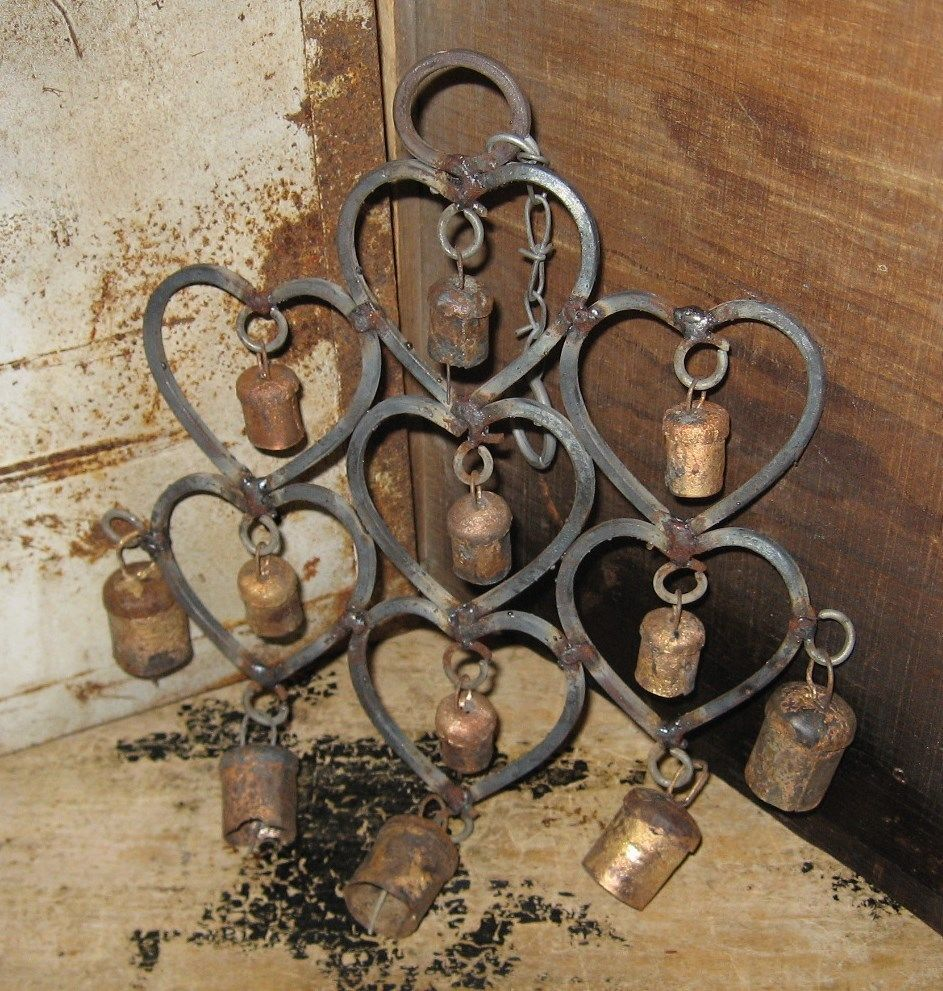 Primitive country gardens - Wrought Iron Heart Cow Bells Wind Chime Primitive French Country Garden Decor Naiveprimitive
