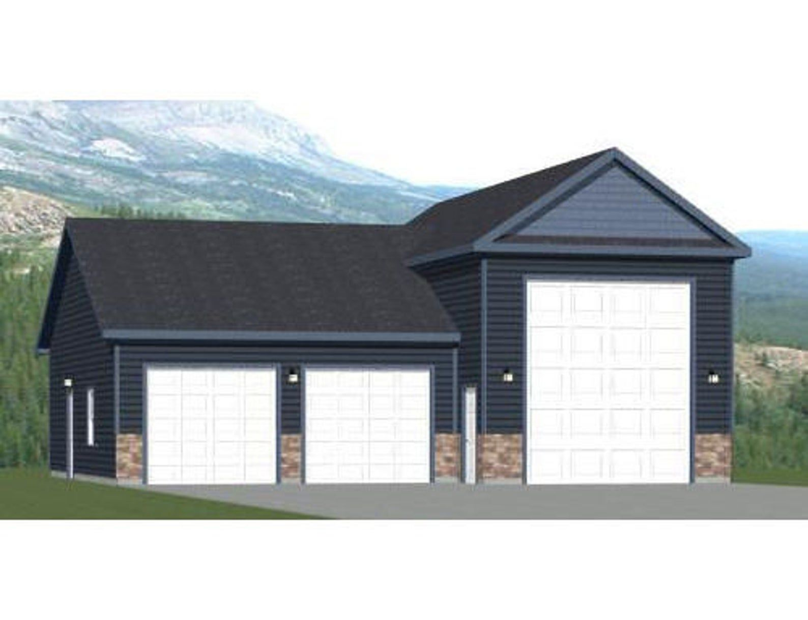 42x40 1 Rv 2 Car Garage Pdf Floor Plan 1537 Sq Ft Etsy Garage Floor Plans Car Garage Building A Pole Barn