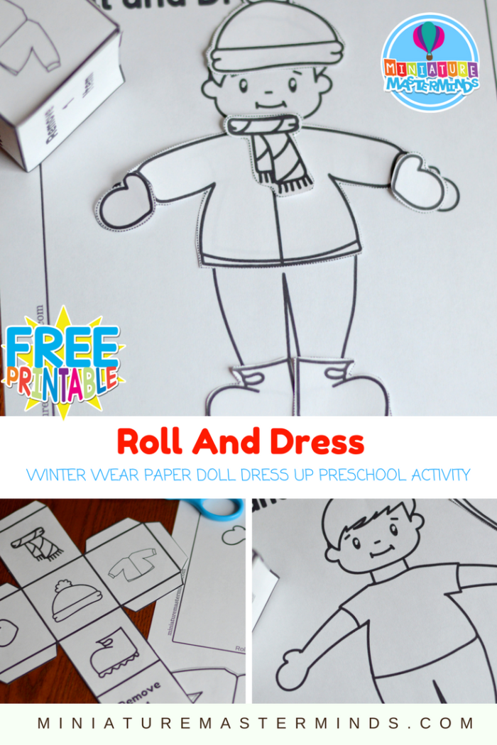Roll And Dress Winter Wear Preschool Roll The Dice Dress Up Paper Doll Coloring Page Activity ⋆ Miniature Masterminds