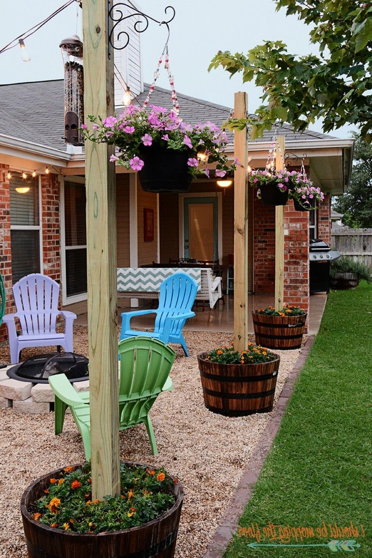 60+ Small Backyard Landscaping Ideas with Rocks & Pool on ... on Patio Designs On A Budget id=20053