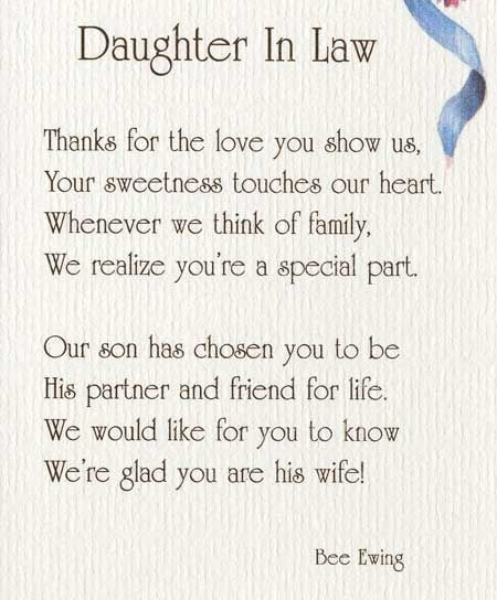 Daughter In Law Tahnks For The Love You Show Us Your Sweetness Touches Our Heart Birthday Quotes For Daughter Daughter In Law Quotes Law Quotes