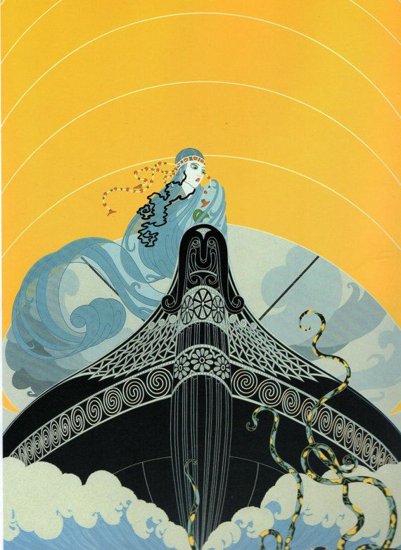 "Chic Original Vintage ERTE Art Deco Print ""SURPRISES of the SEA"" Fashion Book…"