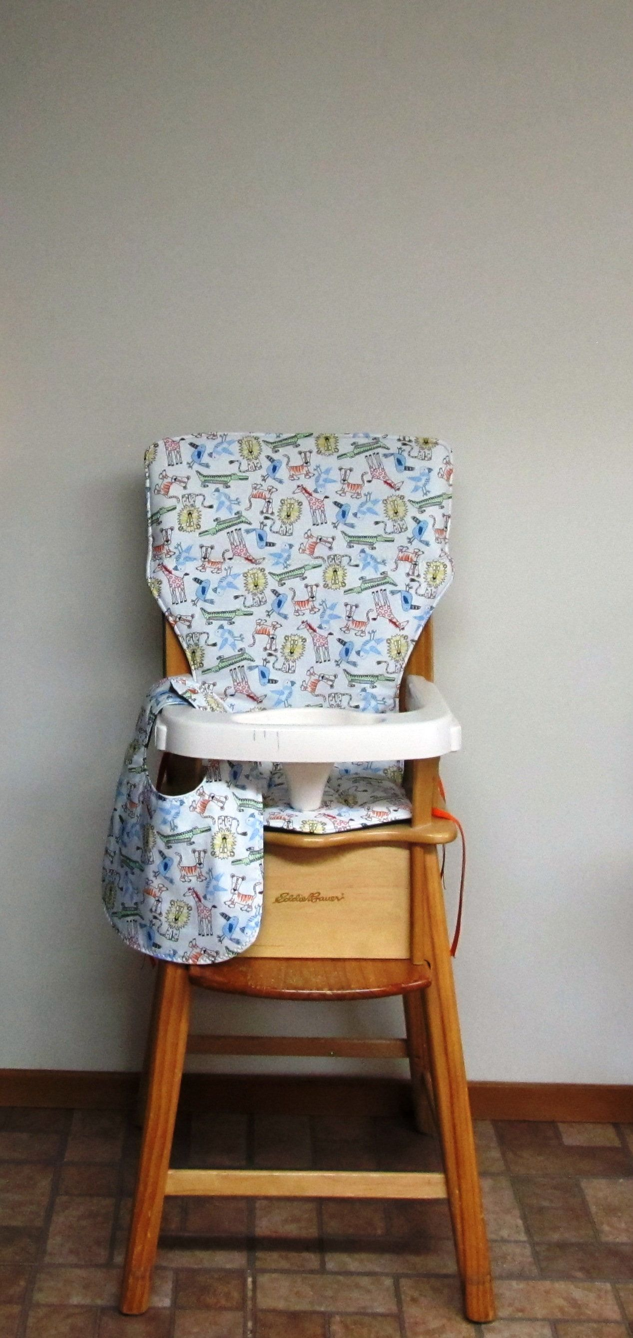 Eddie Bauer Custom Wooden High Chair Pad Color Me Jungle With