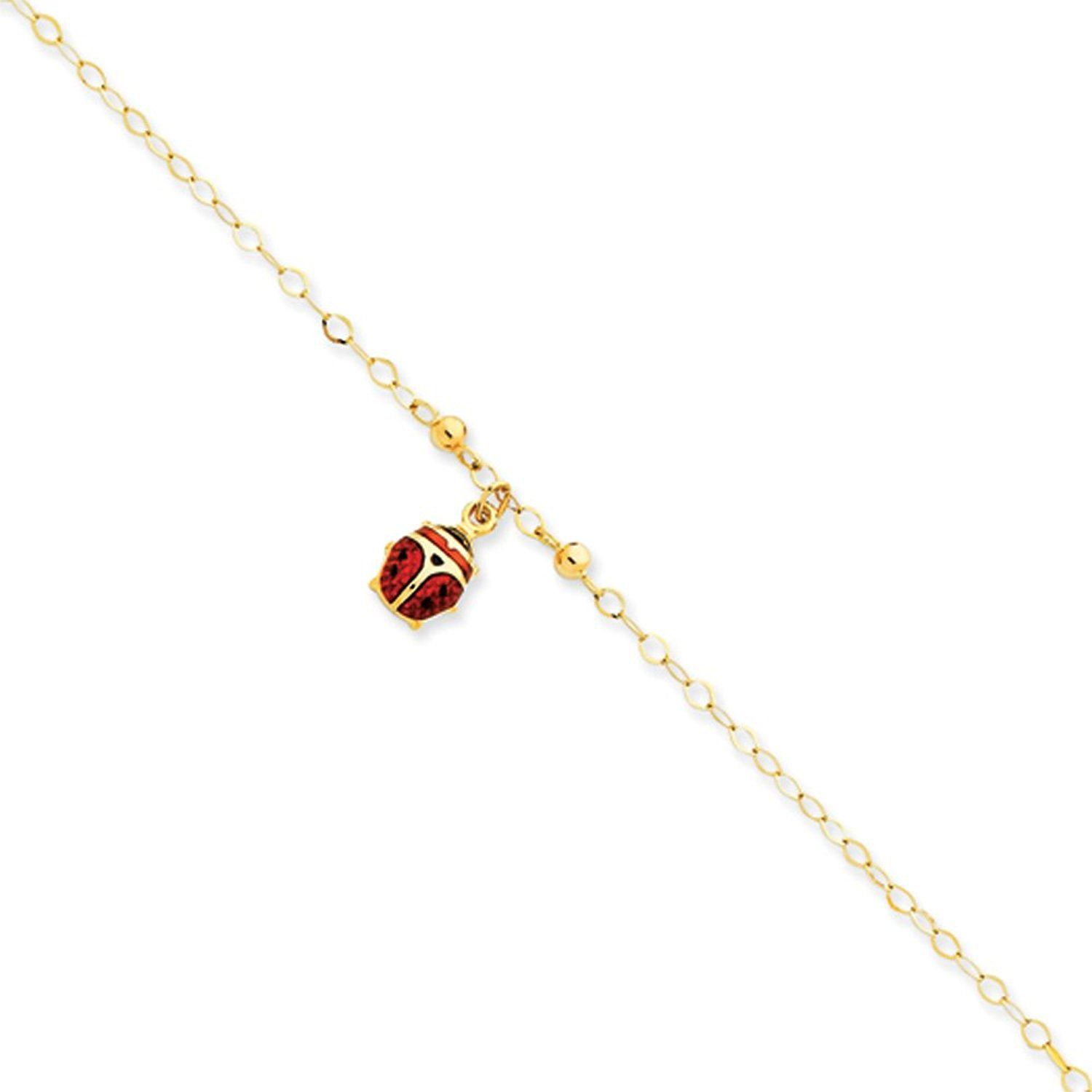 bracelets silver bracelet carat bling in anklet ankle gold charm red jewelry ladybug myshoplah sterling