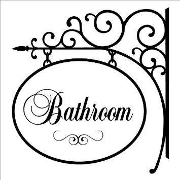 Bathroom Signs Amazon amazon: bathroom hang sign wall saying vinyl lettering home