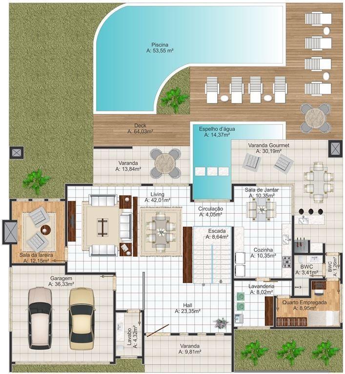Planos de casas grandes planos de casas modernas for Planos de pisos grandes