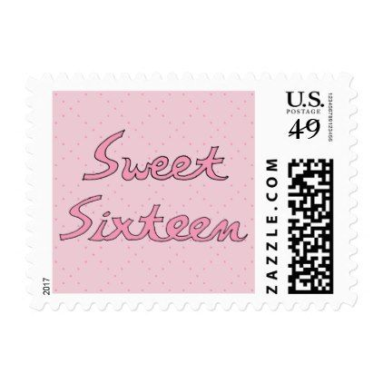 Sweet Sixteen in Pink Lettering Postage - party gifts gift ideas diy customize