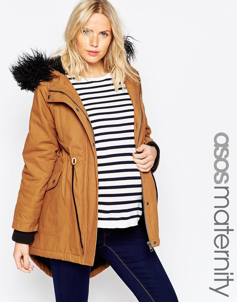 c3dbe56694e9f ASOS Maternity Parka With Faux Fur Hood Tobacco UK size 12 ...