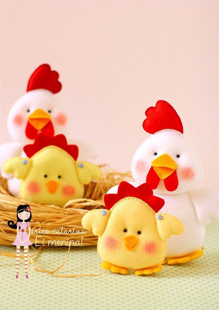 Molde para hacer gallinas de tela gratis.   Muñecos de pascua ...