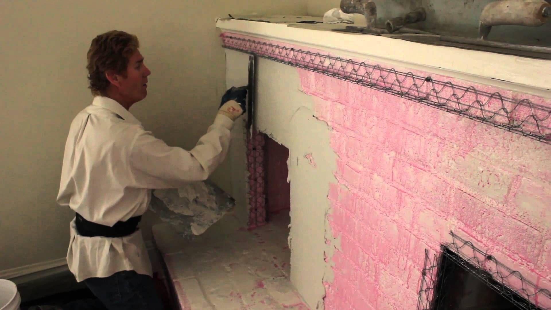 plastering brick fireplace - Google Search   Brick ...   Chimney Stucco Over Brick