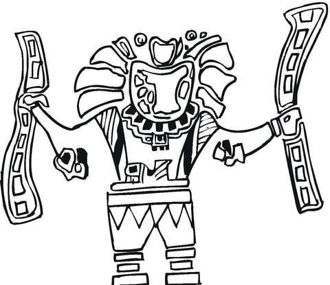 Arte Azteca Dibujo Para Colorear En 2019 Arte Azteca