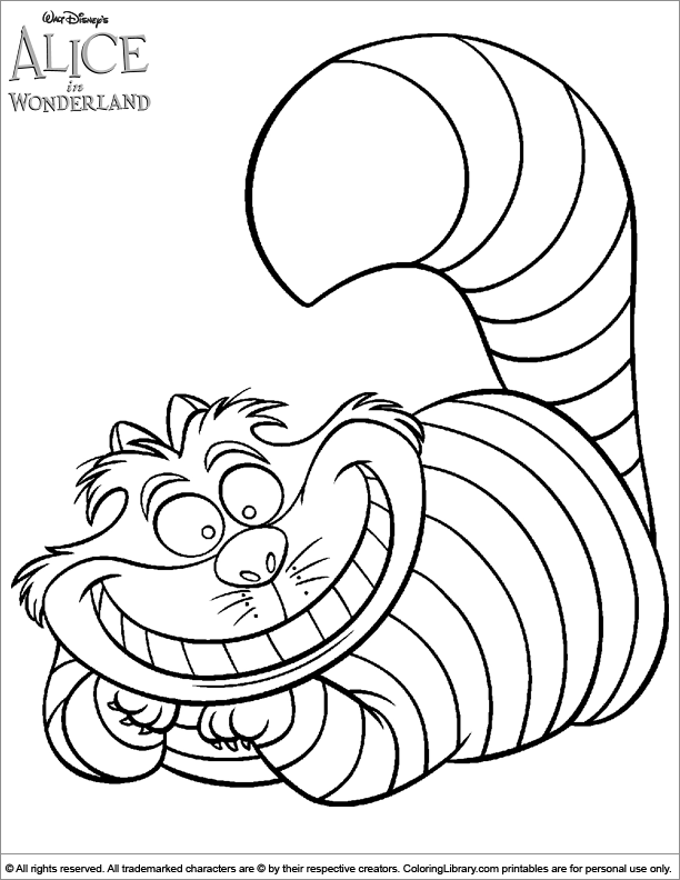 cheshire cat alice in wonderland coloring sheet  alice