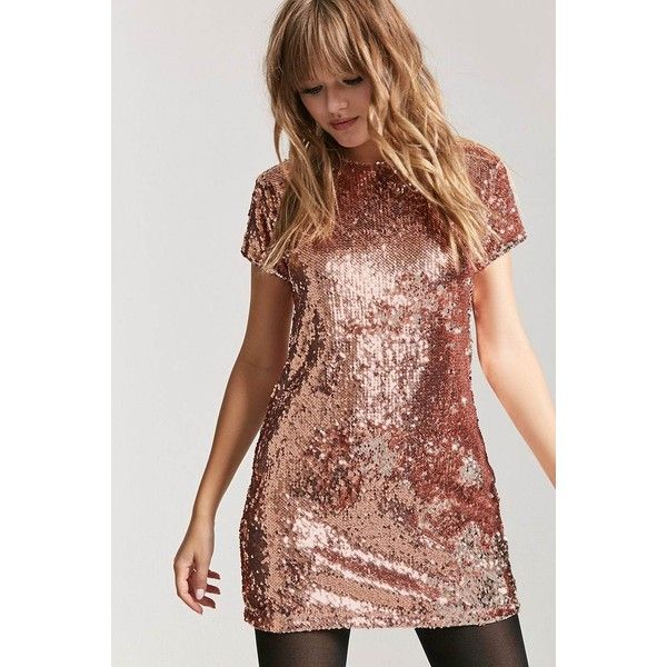e1a57c415 Forever 21 Metallic Sequin Shift Dress Rose Gold/silver ($23) ❤ liked on  Polyvore featuring dresses, silver sequin dress, short-sleeve dresses, ...