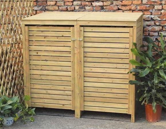Charles Bentley Wooden Outdoor Wheelie Bin Cover Storage Cupboard