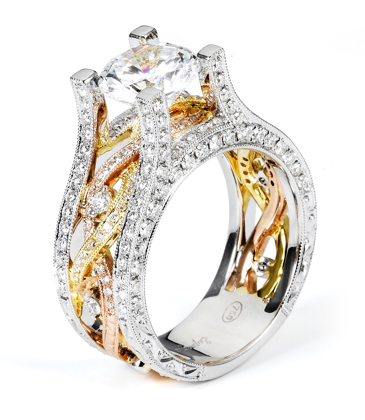 18k Tri Color Twist Band Diamond Engagement Ring 38755