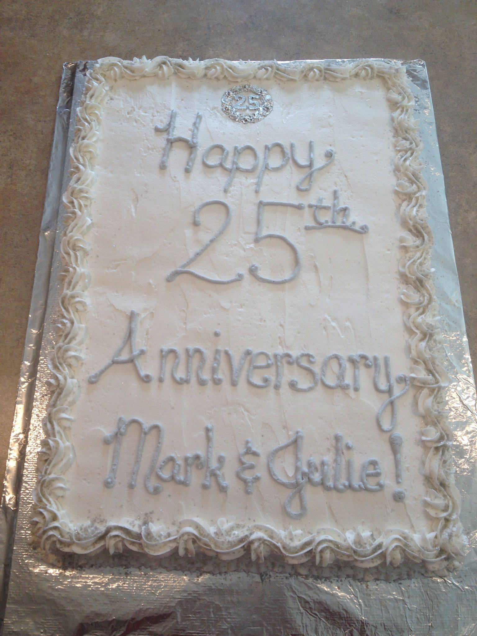 25th Wedding Anniversary Cake I Made For My Aunt And Uncle 25th Wedding Anniversary Cakes Wedding Anniversary Cake Anniversary Cake