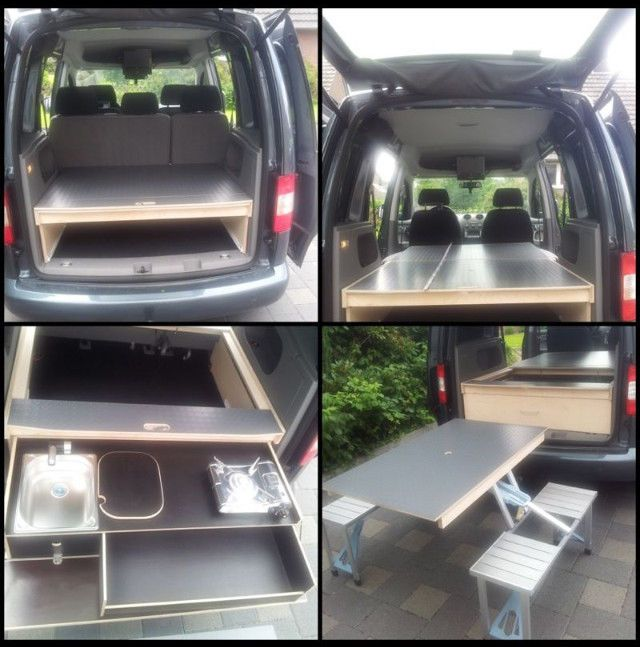 vw caddy camping bett optional tisch k che gegen. Black Bedroom Furniture Sets. Home Design Ideas