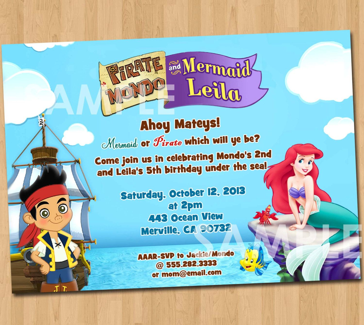 Pirate and Mermaid Invitation - Printable Birthday Party Digital ...