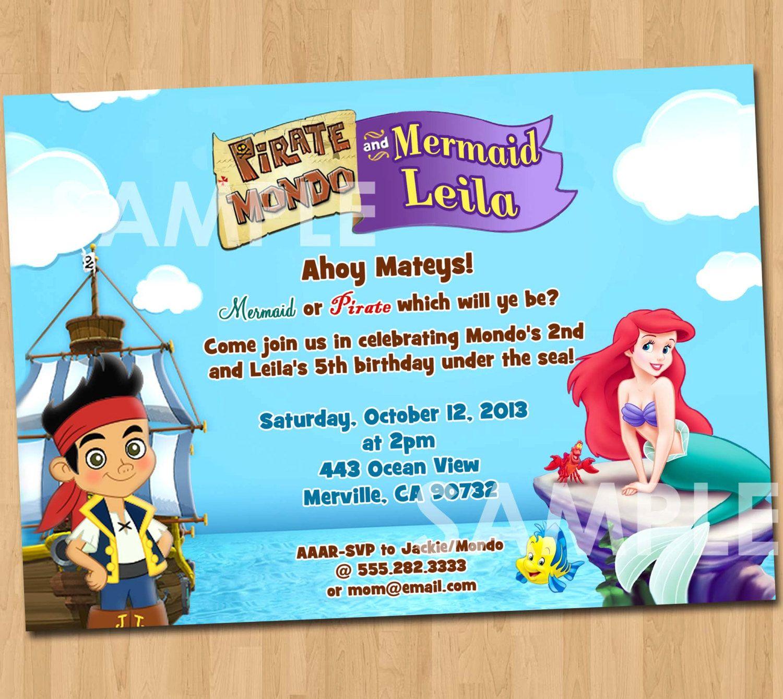 Pirate and Mermaid Invitation Printable by KidsPartyPrintables ...