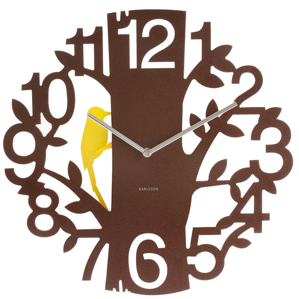 Woodpecker Wall Clock Brown