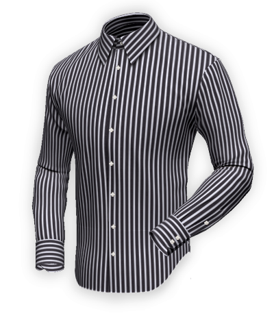 Desla Black-white-blue striped shirt, 100% cotton, Easy Care. Custom shirt  with a fabric that combines thick black and white stripes with thi… 75e5dd79ee7