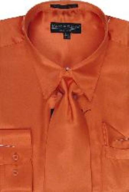 Orange White Dress Shirts Men