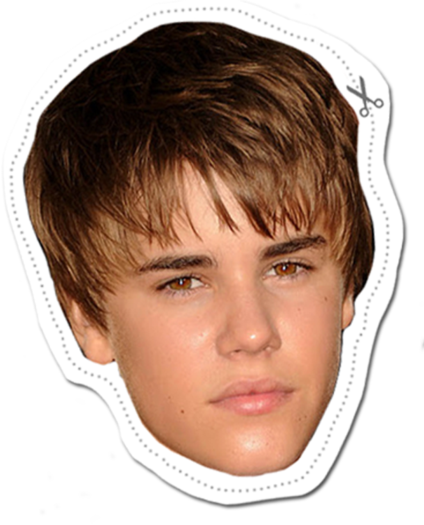 We Re Printing This Justin Bieber Mask For A Birthday Party Awesome Photobooth Prop Girls Rockstar Justin Bieber Posters Justin Bieber